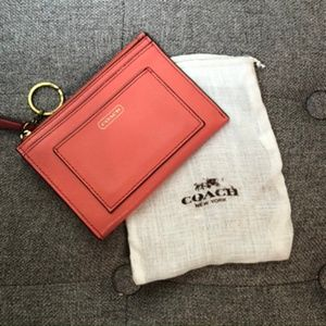 Coach Darcy Leather Medium Skinny Wallet Coral